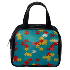 Puzzle Pieces Classic Handbag (one Side) by LalyLauraFLM