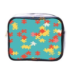 Puzzle Pieces Mini Travel Toiletry Bag (one Side) by LalyLauraFLM