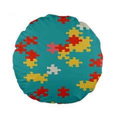 Puzzle Pieces 15  Premium Round Cushion  by LalyLauraFLM