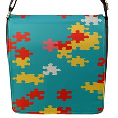 Puzzle Pieces Flap Closure Messenger Bag (small)