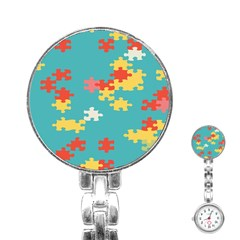 Puzzle Pieces Stainless Steel Nurses Watch