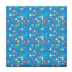 Colorful Squares Pattern Tile Coaster