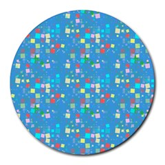 Colorful Squares Pattern Round Mousepad by LalyLauraFLM