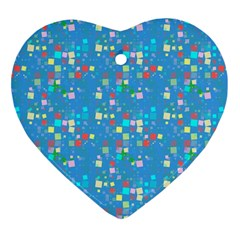 Colorful Squares Pattern Ornament (heart)