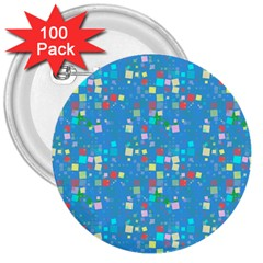 Colorful Squares Pattern 3  Button (100 Pack)