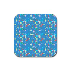 Colorful Squares Pattern Rubber Square Coaster (4 Pack)