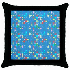 Colorful Squares Pattern Throw Pillow Case (black) by LalyLauraFLM