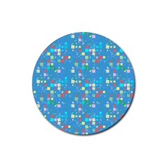 Colorful Squares Pattern Rubber Coaster (round)