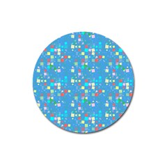 Colorful Squares Pattern Magnet 3  (round) by LalyLauraFLM