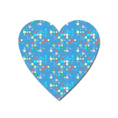 Colorful Squares Pattern Magnet (heart) by LalyLauraFLM