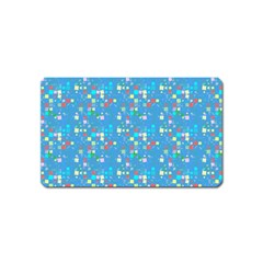 Colorful Squares Pattern Magnet (name Card)