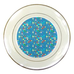 Colorful Squares Pattern Porcelain Plate