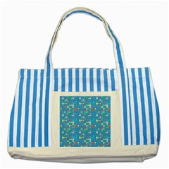 Colorful Squares Pattern Striped Blue Tote Bag