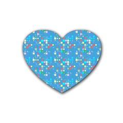 Colorful Squares Pattern Rubber Coaster (heart)
