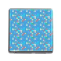 Colorful Squares Pattern Memory Card Reader With Storage (square)