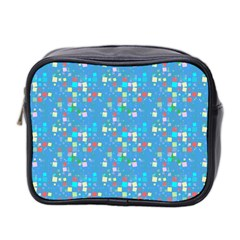 Colorful Squares Pattern Mini Toiletries Bag (two Sides)