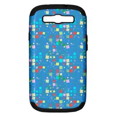 Colorful Squares Pattern Samsung Galaxy S Iii Hardshell Case (pc+silicone)