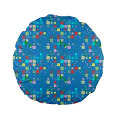 Colorful Squares Pattern 15  Premium Round Cushion  by LalyLauraFLM