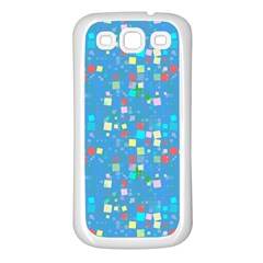 Colorful Squares Pattern Samsung Galaxy S3 Back Case (white) by LalyLauraFLM