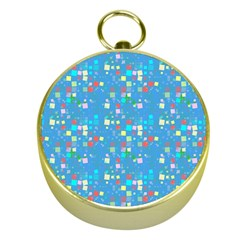Colorful Squares Pattern Gold Compass by LalyLauraFLM
