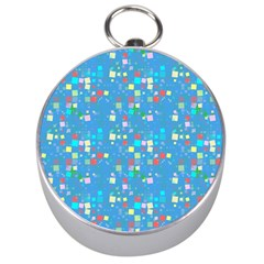 Colorful Squares Pattern Silver Compass