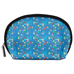 Colorful Squares Pattern Accessory Pouch (large) by LalyLauraFLM
