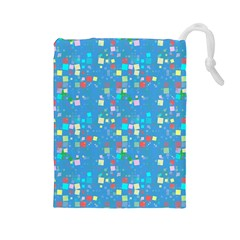 Colorful Squares Pattern Drawstring Pouch (large)