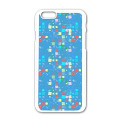Colorful Squares Pattern Apple Iphone 6 White Enamel Case