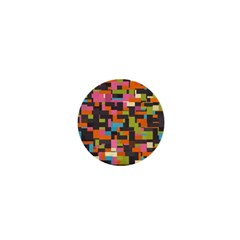 Colorful Pixels 1  Mini Button by LalyLauraFLM