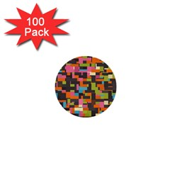 Colorful Pixels 1  Mini Button (100 Pack)  by LalyLauraFLM