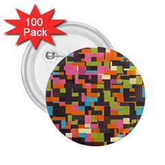Colorful Pixels 2 25  Button (100 Pack) by LalyLauraFLM