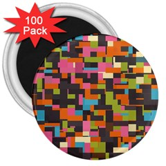 Colorful Pixels 3  Magnet (100 Pack) by LalyLauraFLM