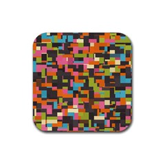 Colorful Pixels Rubber Coaster (square) by LalyLauraFLM