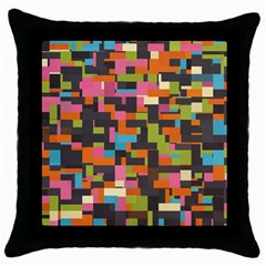 Colorful Pixels Throw Pillow Case (black) by LalyLauraFLM