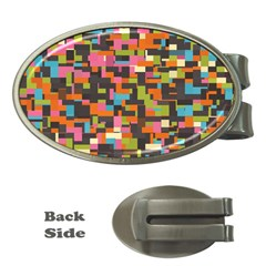 Colorful Pixels Money Clip (oval)