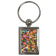 Colorful Pixels Key Chain (rectangle)