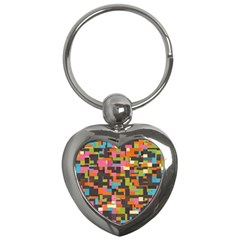 Colorful Pixels Key Chain (heart) by LalyLauraFLM
