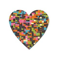 Colorful Pixels Magnet (heart)