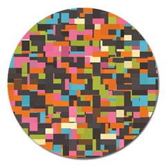 Colorful Pixels Magnet 5  (round) by LalyLauraFLM