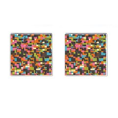 Colorful Pixels Cufflinks (square) by LalyLauraFLM