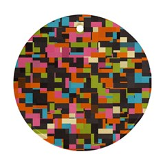 Colorful Pixels Round Ornament (two Sides) by LalyLauraFLM