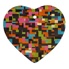 Colorful Pixels Heart Ornament (two Sides)