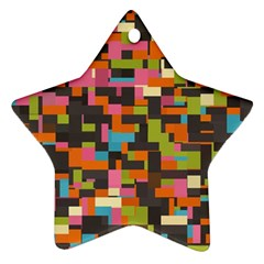 Colorful Pixels Star Ornament (two Sides) by LalyLauraFLM