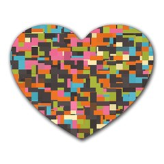 Colorful Pixels Heart Mousepad by LalyLauraFLM