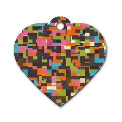 Colorful Pixels Dog Tag Heart (one Side)