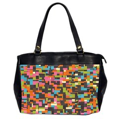 Colorful Pixels Oversize Office Handbag (two Sides)
