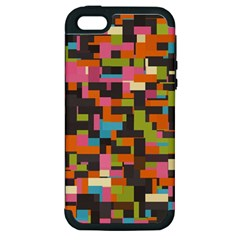 Colorful Pixels Apple Iphone 5 Hardshell Case (pc+silicone)