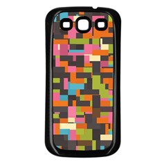 Colorful Pixels Samsung Galaxy S3 Back Case (black)