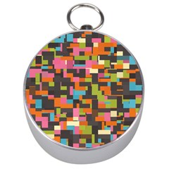 Colorful Pixels Silver Compass