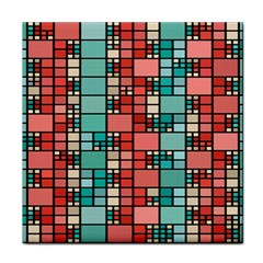 Red And Green Squares Tile Coaster